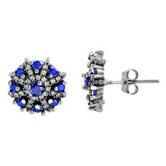 3.33cts blue sapphire (lab) topaz 925 sterling silver stud earrings c9558