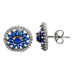 4.71cts blue sapphire (lab) topaz 925 sterling silver stud earrings c9566
