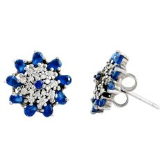 4.53cts blue sapphire (lab) topaz 925 sterling silver stud earrings c9647