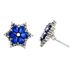 4.18cts blue sapphire (lab) topaz 925 sterling silver stud earrings c9649