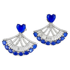 Blue sapphire quartz topaz 925 sterling silver dangle earrings c19515