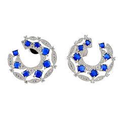 Blue sapphire quartz topaz 925 sterling silver earrings jewelry c20195