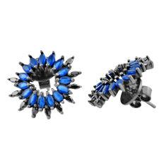 Blue sapphire quartz topaz 925 sterling silver stud earrings c20123