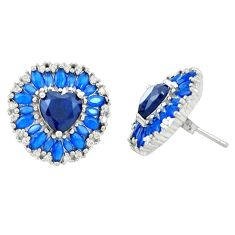 Blue sapphire quartz topaz 925 sterling silver stud earrings c20177
