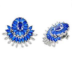 Blue sapphire quartz topaz 925 sterling silver stud earrings jewelry c19511