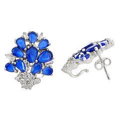 Blue sapphire quartz topaz 925 sterling silver stud earrings jewelry c19586