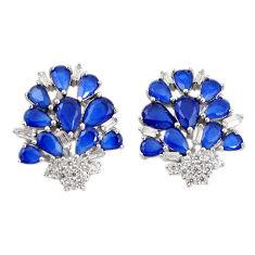 Blue sapphire quartz white topaz 925 sterling silver stud earrings c19553