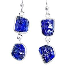 17.20cts blue sapphire rough 925 sterling silver dangle earrings jewelry r55376