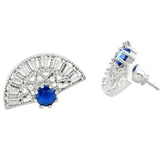 Blue sapphire topaz quartz 925 silver stud earrings jewelry c19564