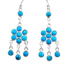 8.39cts blue sleeping beauty turquoise 925 silver chandelier earrings r45045