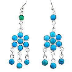 8.08cts blue sleeping beauty turquoise 925 silver chandelier earrings r45046