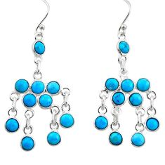 8.19cts blue sleeping beauty turquoise 925 silver chandelier earrings r45047