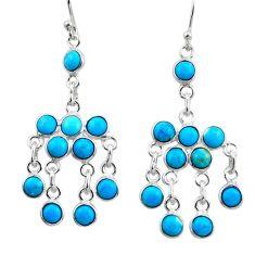 8.21cts blue sleeping beauty turquoise 925 silver chandelier earrings r45048