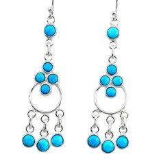 6.54cts blue sleeping beauty turquoise 925 silver chandelier earrings r45066