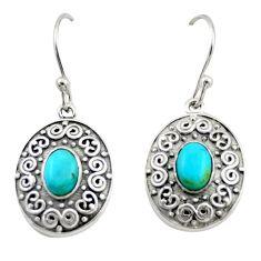 4.01cts blue sleeping beauty turquoise 925 silver dangle earrings jewelry d47130