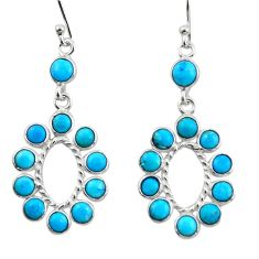 7.91cts blue sleeping beauty turquoise 925 silver dangle earrings r45065