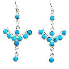 8.42cts blue sleeping beauty turquoise 925 silver dangle earrings r45085