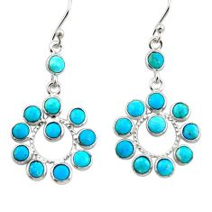 7.62cts blue sleeping beauty turquoise 925 silver dangle earrings r45105