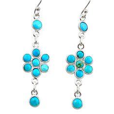7.72cts blue sleeping beauty turquoise 925 silver dangle earrings r45109