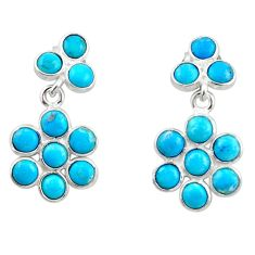 7.76cts blue sleeping beauty turquoise 925 silver dangle earrings r45111