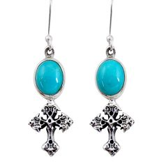 Clearance Sale- 8.41cts blue sleeping beauty turquoise 925 silver holy cross earrings d40507