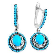 Blue sleeping beauty turquoise 925 sterling silver dangle earrings a86794 c24837