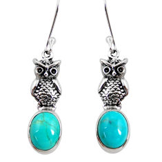 8.05cts blue sleeping beauty turquoise 925 sterling silver owl earrings d40506