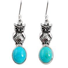 8.41cts blue sleeping beauty turquoise 925 sterling silver owl earrings d40509