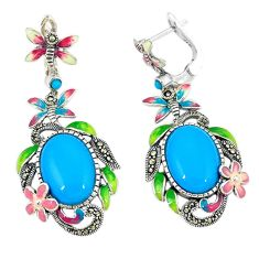 Blue sleeping beauty turquoise enamel 925 silver dangle earrings c21465