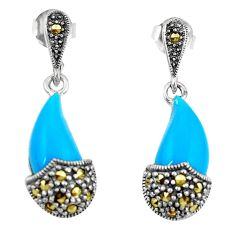 Blue sleeping beauty turquoise marcasite 925 silver dangle earrings c22389
