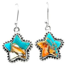 9.99cts blue spiny oyster arizona turquoise 925 silver star earrings t50637