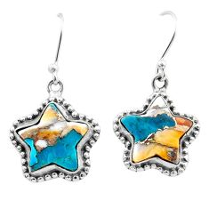 10.41cts blue spiny oyster arizona turquoise silver star earrings t50621