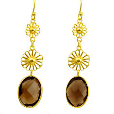 10.78cts brown smoky topaz 925 sterling silver 14k gold dangle earrings r31612
