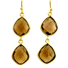 16.49cts brown smoky topaz 925 sterling silver 14k gold dangle earrings r31621
