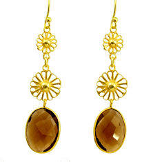 13.69cts brown smoky topaz 925 sterling silver 14k gold dangle earrings r31625