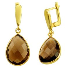 19.29cts brown smoky topaz 925 sterling silver 14k gold dangle earrings r31672