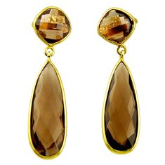 24.56cts brown smoky topaz 925 sterling silver 14k gold dangle earrings r31726