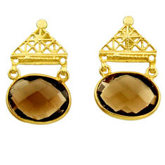 16.88cts brown smoky topaz 925 sterling silver 14k gold dangle earrings r31769