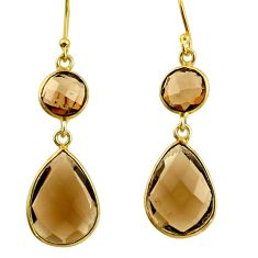 12.44cts brown smoky topaz 925 sterling silver 14k gold dangle earrings r38492