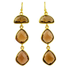18.57cts brown smoky topaz 14k gold handmade dangle earrings t11389