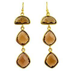 18.57cts brown smoky topaz 14k gold handmade dangle earrings t11392