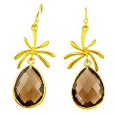 16.74cts brown smoky topaz 14k gold handmade dangle earrings t11406