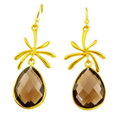 16.74cts brown smoky topaz 14k gold handmade dangle earrings t11407