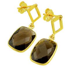 10.65cts brown smoky topaz 14k gold handmade dangle earrings t11441