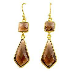 11.86cts brown smoky topaz 14k gold dangle handmade earrings t14642