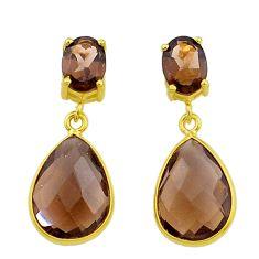 10.89cts brown smoky topaz handmade 14k gold dangle earrings t16482