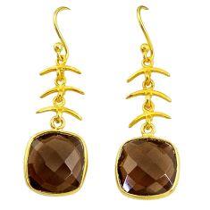 13.13cts brown smoky topaz handmade 14k gold dangle earrings t16526