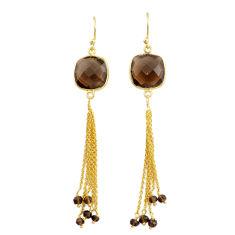 15.20cts brown smoky topaz handmade 14k gold dangle earrings t16651