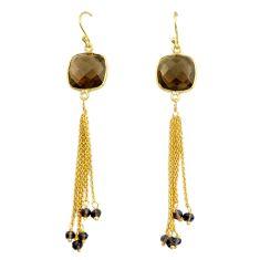 14.59cts brown smoky topaz handmade 14k gold dangle earrings t16661