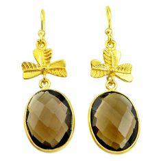 13.73cts brown smoky topaz 925 sterling silver 14k gold dangle earrings t44092